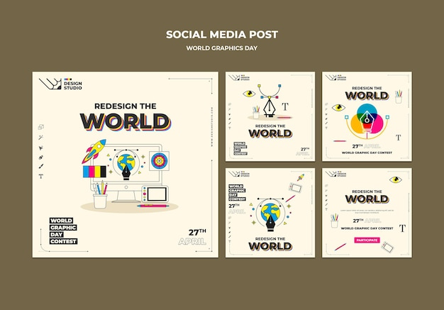 World graphics day social media posts-pakket