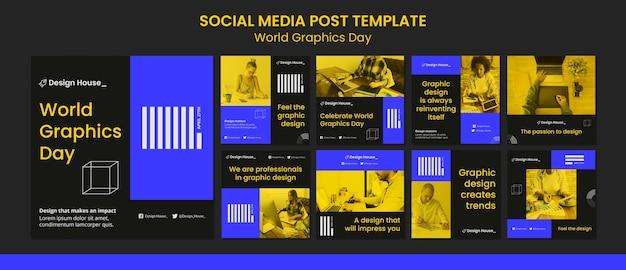 World graphics day social media posts-pakket