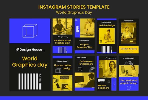 World graphics day social media-verhalenpakket