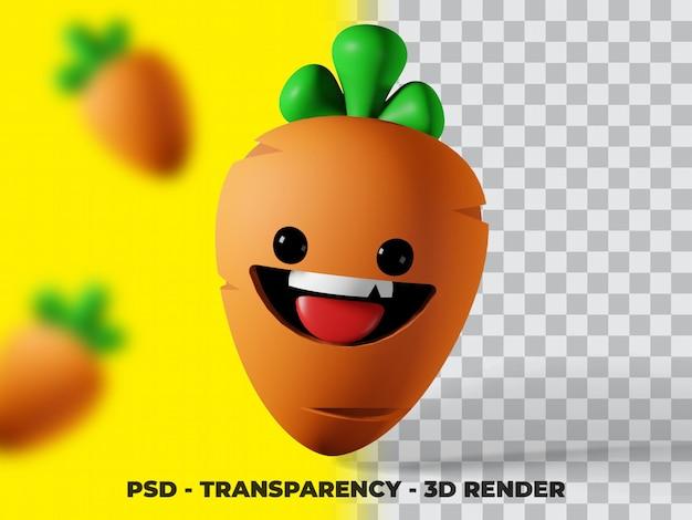 Wortel plantaardige 3d illustratie met transparantie achtergrond
