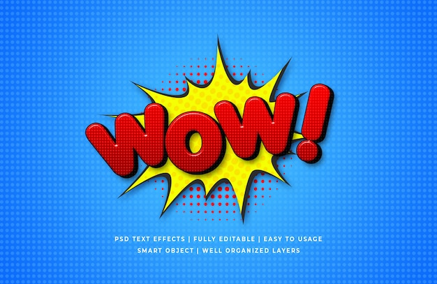 Wow comic speech 3d text style effect