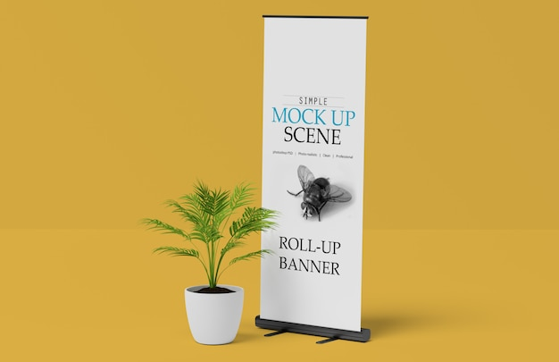 X-banner of roll up stand mockup