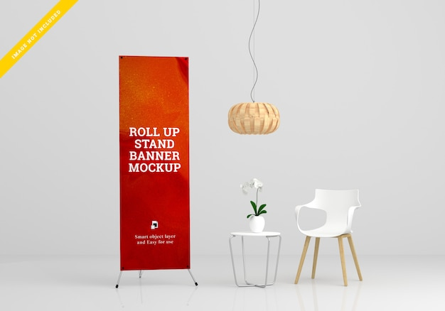 Xroll up banner stand mockup. plantilla psd.