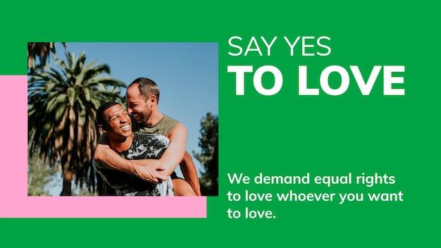 Yes to love template psd banner del blog del mes del orgullo lgbtq