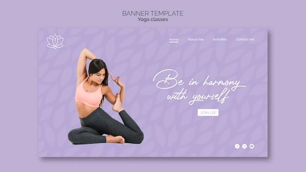 Yoga banner met vrouw