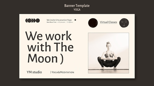 Yoga klasse kleurloze sjabloon voor spandoek