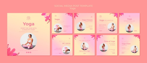 Yoga lessen sociale media berichten sjabloon