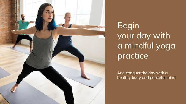 Yoga-oefening wellness-sjabloon psd voor presentatie van een gezonde levensstijl