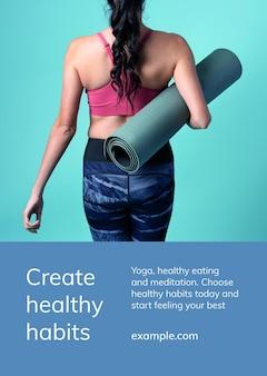 Yoga-oefensjabloon psd voor een gezonde levensstijl voor advertentieposter