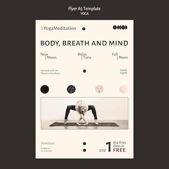 Yoga praktijk kleurloos ontwerpsjabloon folder