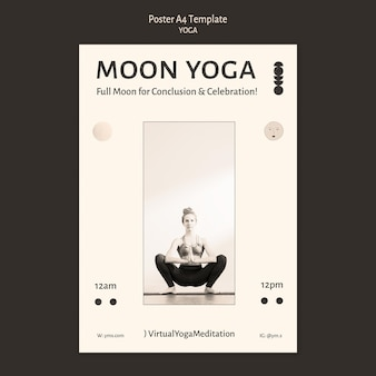 Yoga praktijk kleurloze poster ontwerpsjabloon
