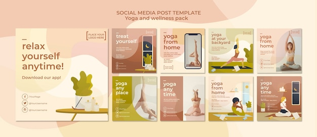 Yoga social media postsjabloon