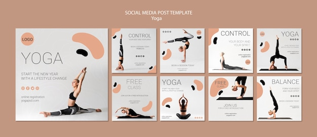 Yoga sociale media post sjabloon