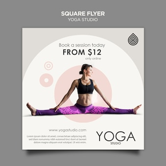Yoga studio vierkante flyer-sjabloon