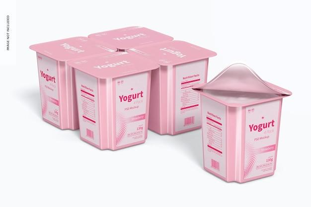 Yoghurt 4-pack mockup, perspectief per