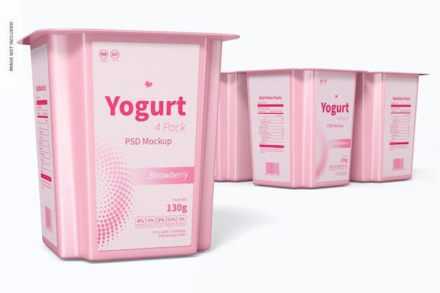 Yoghurt 4-pack mockup