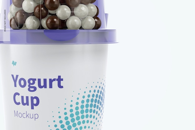 Yoghurt cup mockup, close-up
