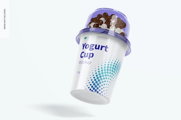 Yoghurt cup mockup, falling