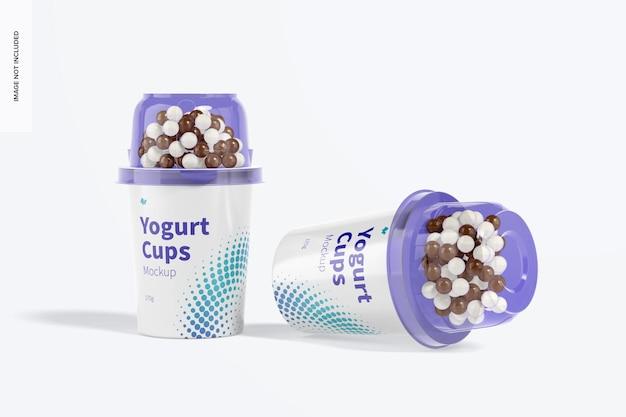 Yoghurtbekers mockup, gedropt