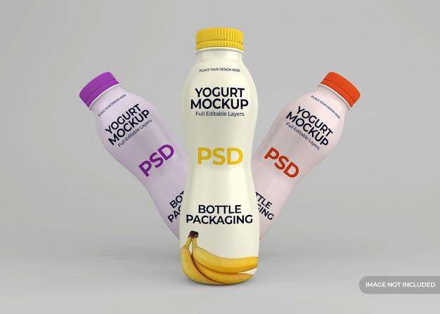 Yoghurtfles verpakking mockup ontwerp geïsoleerd