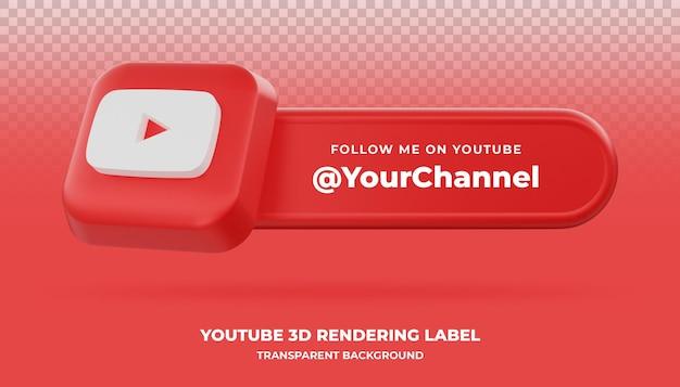 Youtube 3d-rendering banner geïsoleerd