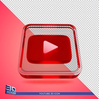 Youtube 3d-rendering pictogram geïsoleerd