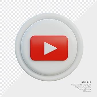 Youtube 3d-stijl logo concept icoon in ronde geïsoleerd
