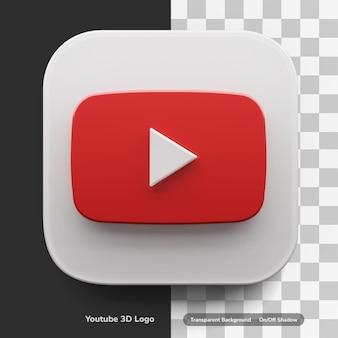 Youtube-apps-logo in 3d-ontwerpactief in grote stijl geïsoleerd