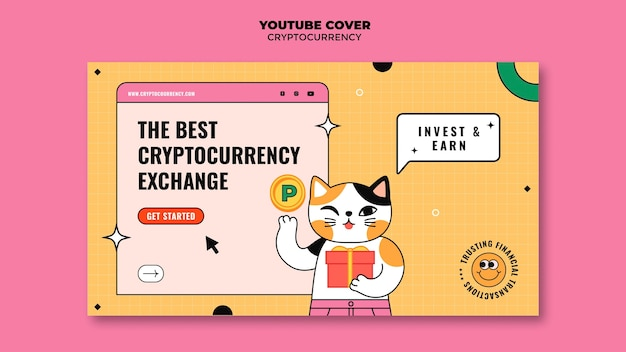 Youtube-bannersjabloon voor cryptocurrency-uitwisseling