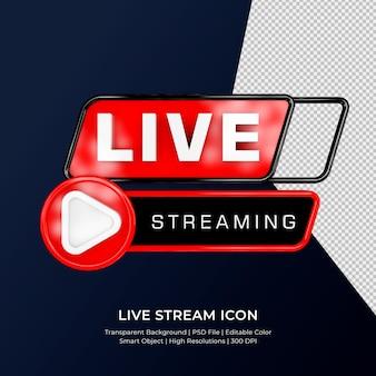 Youtube live streaming 3d render pictogram badge geïsoleerd