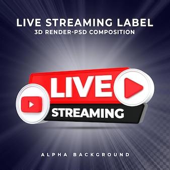 Youtube live streaming 3d render pictogram badge