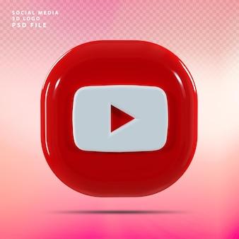 Youtube logo 3d render luxe