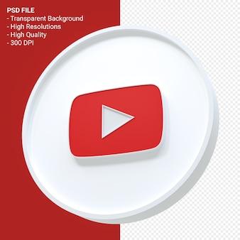 Youtube-logo 3d-rendering geïsoleerd