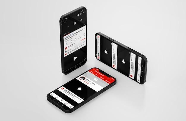 Youtube en maqueta de teléfono móvil