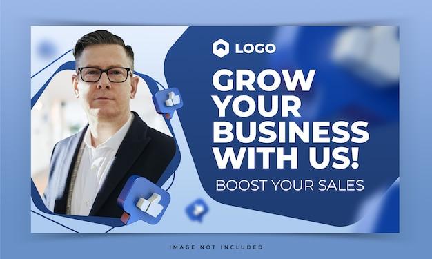 Youtube-miniatuur voor promotie-sjabloon voor facebook-internetmarketingworkshop