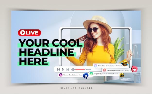 Youtube-miniatuur voor promotiesjabloon voor live workshops