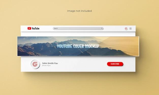 Youtube-omslag of banner mockup 3d-gerenderde interface