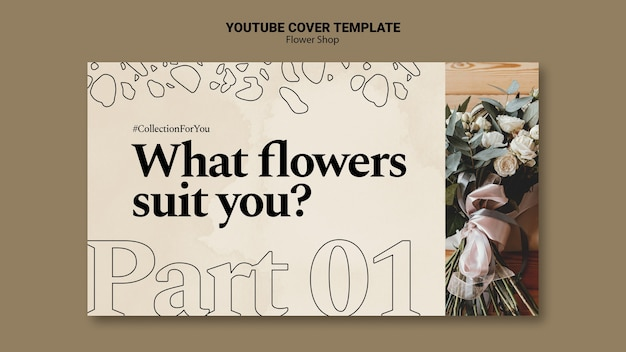 Youtube-omslagsjabloon voor bloemenwinkel