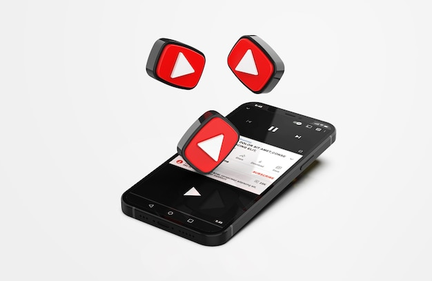 Youtube op mobiele telefoonmodel met 3d-pictogrammen