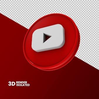 Youtube pictogram 3d-rendering geïsoleerd Premium Psd