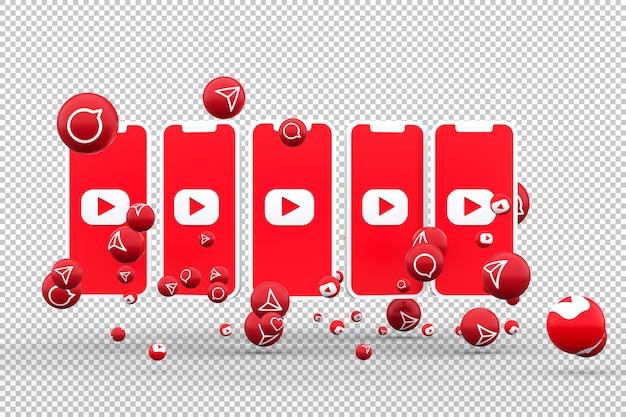 Youtube-pictogram op scherm smartphone en youtube-reacties houden van emoji 3d render
