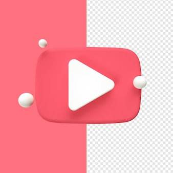 Youtube pictogram transparant 3d