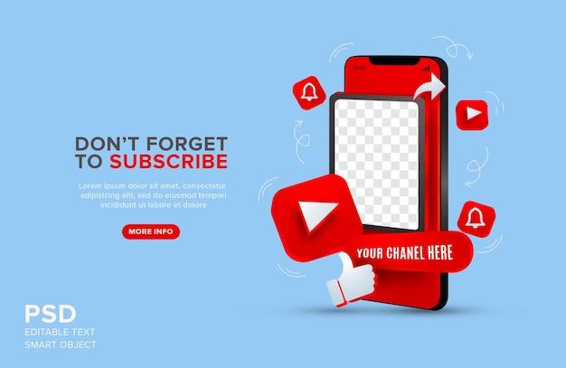 Youtube-promotie op mobiele mockup