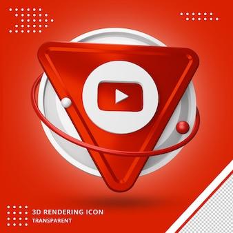 Youtube social media applicatie 3d-rendering pictogram