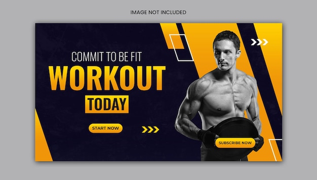 Youtube thumbnail en sportschool fitness workout websjabloon voor spandoek