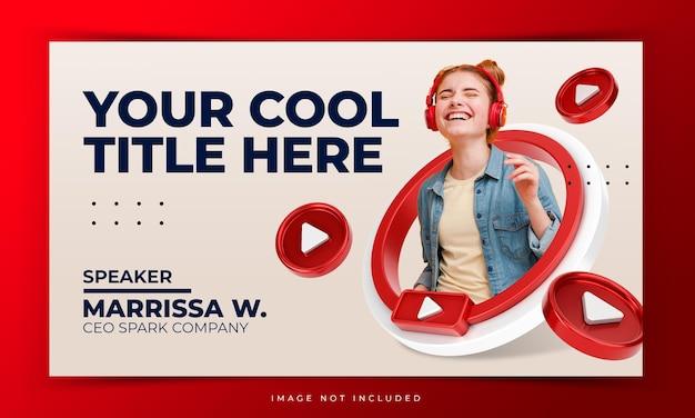 Youtube-videominiatuur voor internetmarketing online workshop-promotiesjabloon