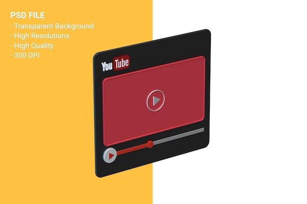 Youtube-videospeler 3d-schermontwerp of video-mediaspelerinterface