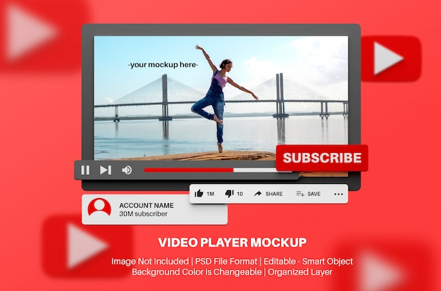 Youtube-videospeler mockup in 3d-stijl