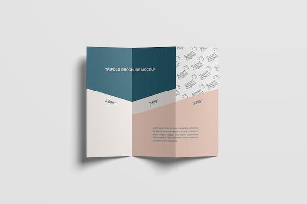 Z fold brochure mockup bovenaanzicht