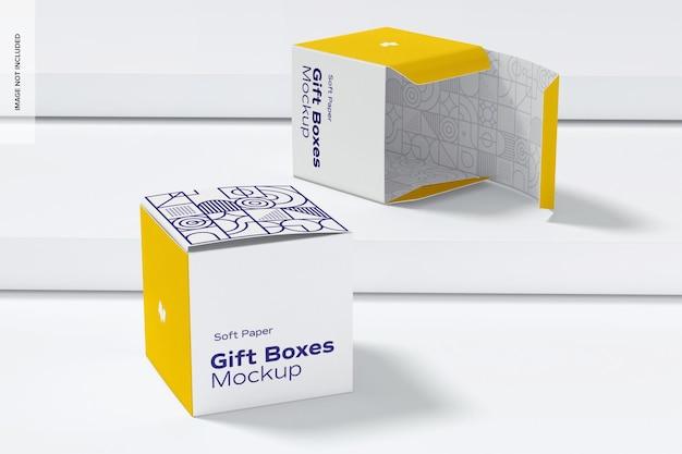 Zacht papier geschenkdozen mockup, perspectief